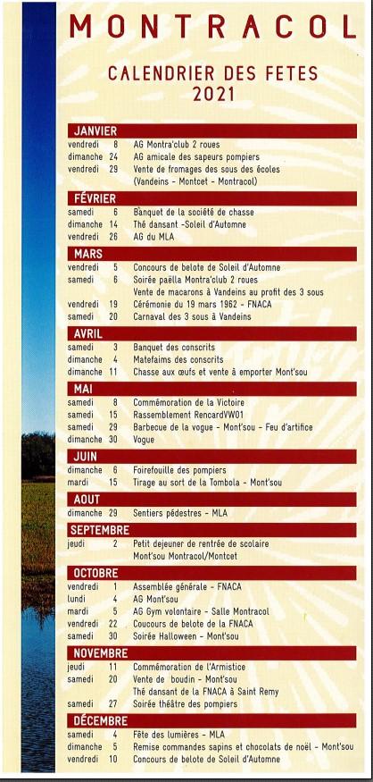 calendrier des fêtes